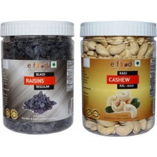 Black Kishmish Regular & Cashew XXL Bold (500gm Each) In Pet Jar Cashews, Raisins (2 x 500 g)