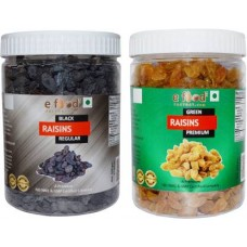 Black Kishmish Regular & Yellow Kishmish Premium (500gm Each) Raisins (2 x 500 g)